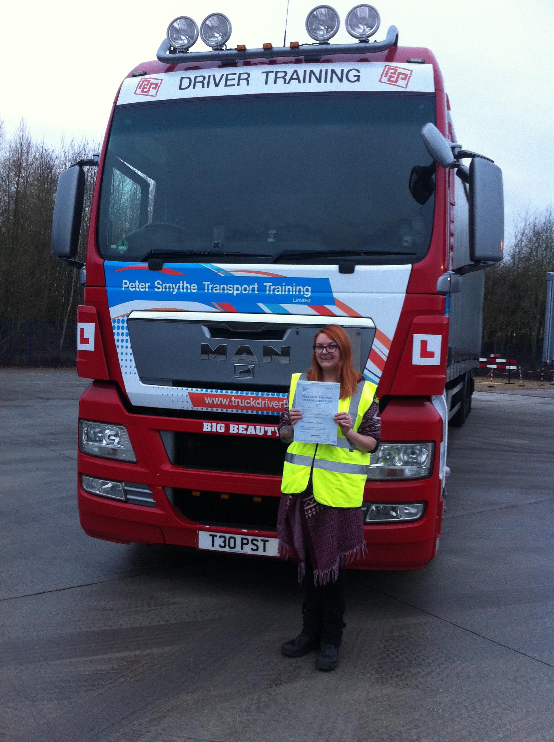 Peter Smythe Transport Training LTD. Chloe Baronowski Passed CE Nottm