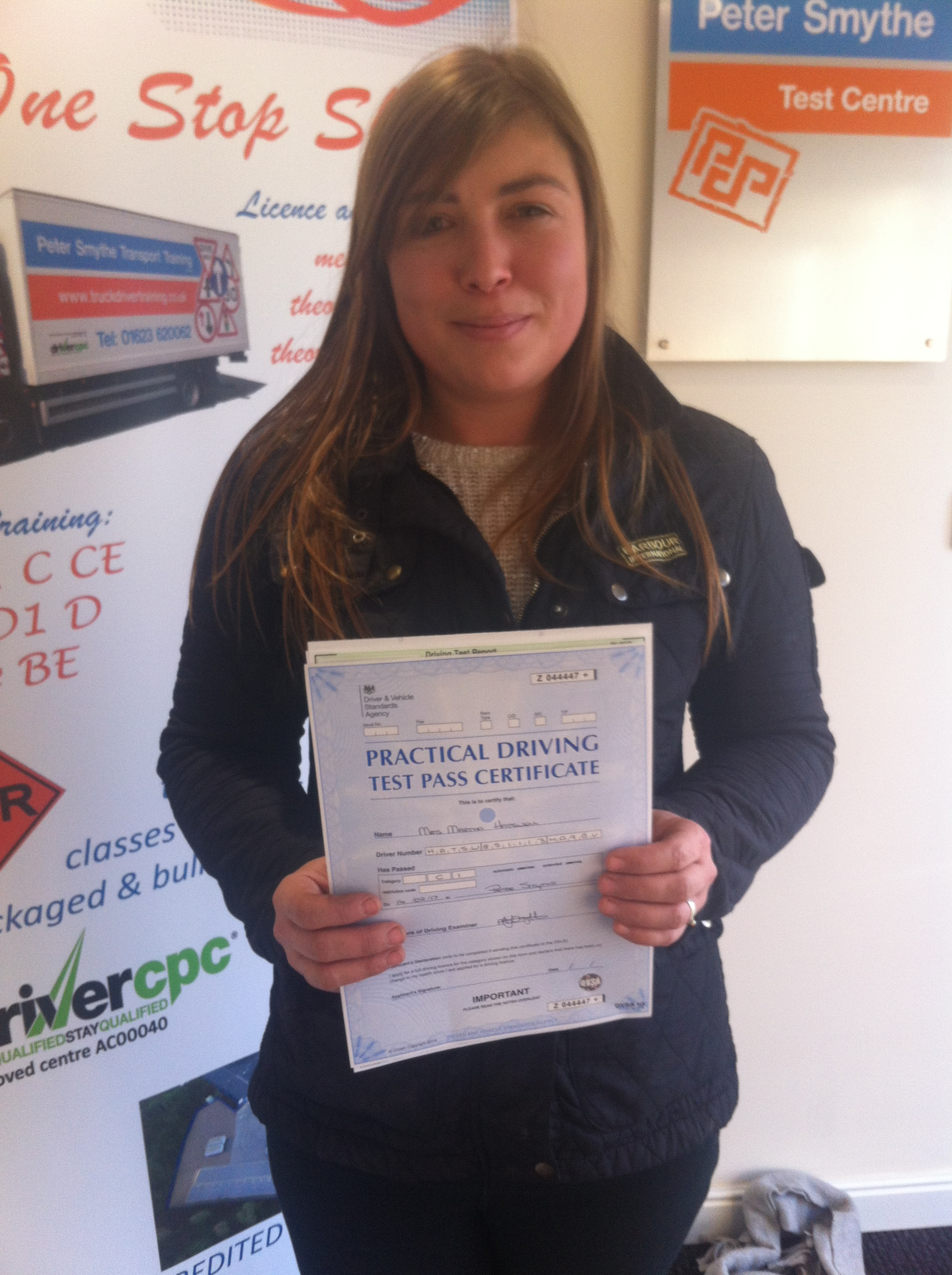 Martha Hatswell from Retford PASSED CAT C1