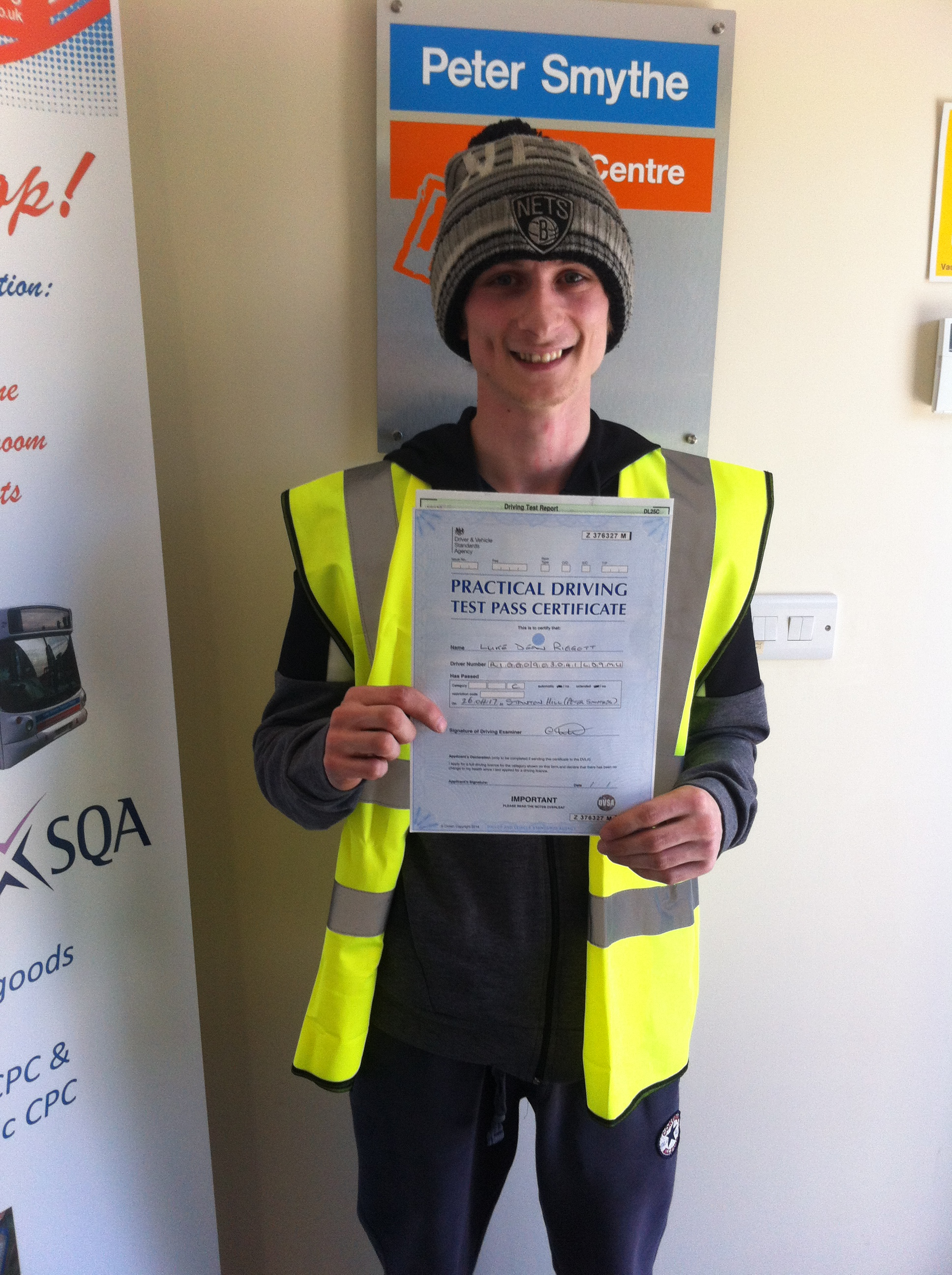 Luke Riggott from Chesterfield PASSED CAT C