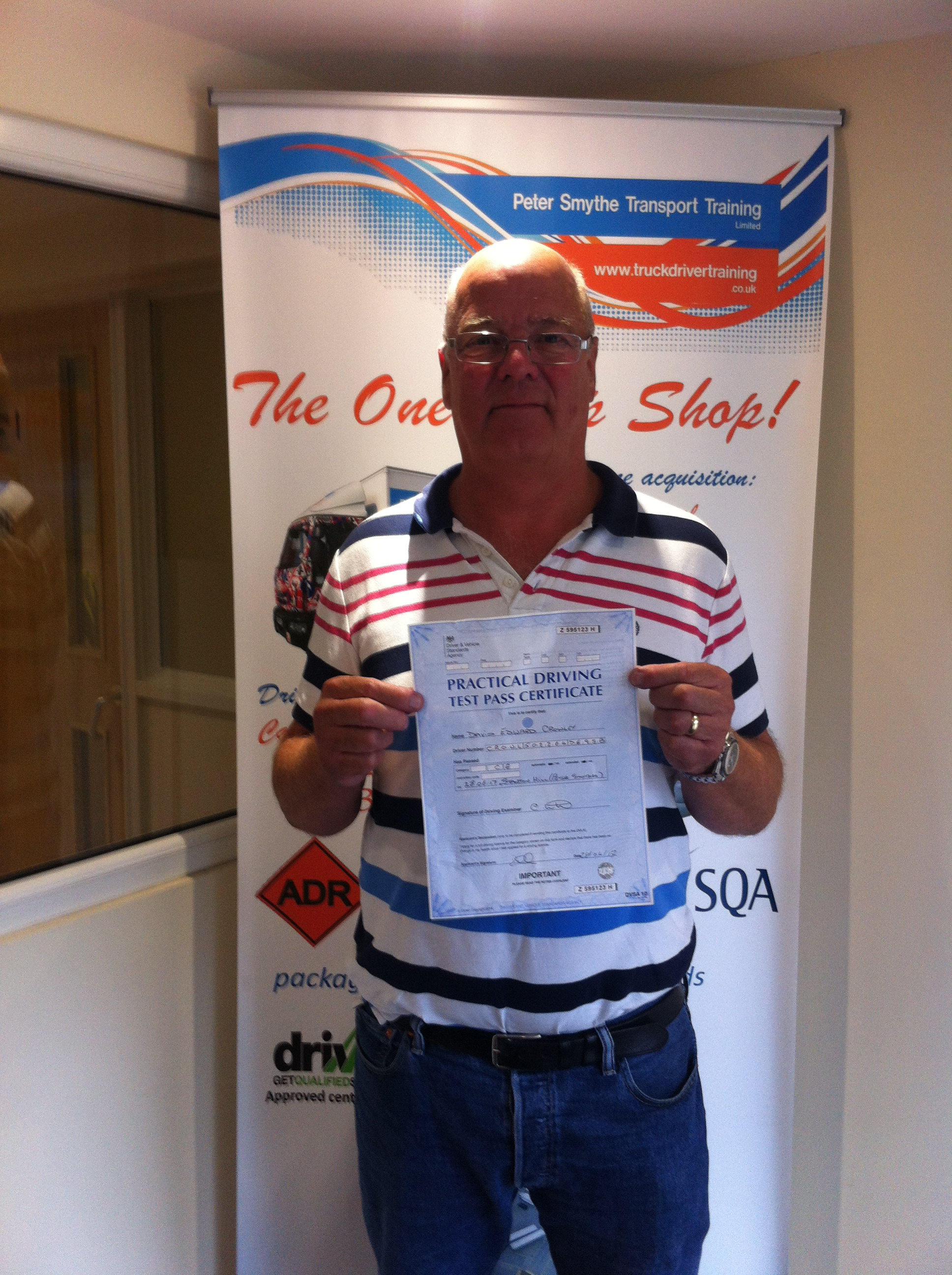 "David Crowley from Derby PASSED CAT C+E ""Fantastic Traning Centre"""
