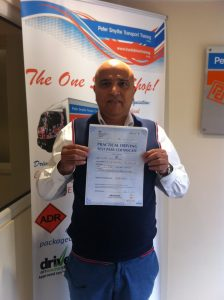 """Ilyas Patel from Leicester PASSED CAT D """"Very Happy with Peter Smythe Transport Training"""""""