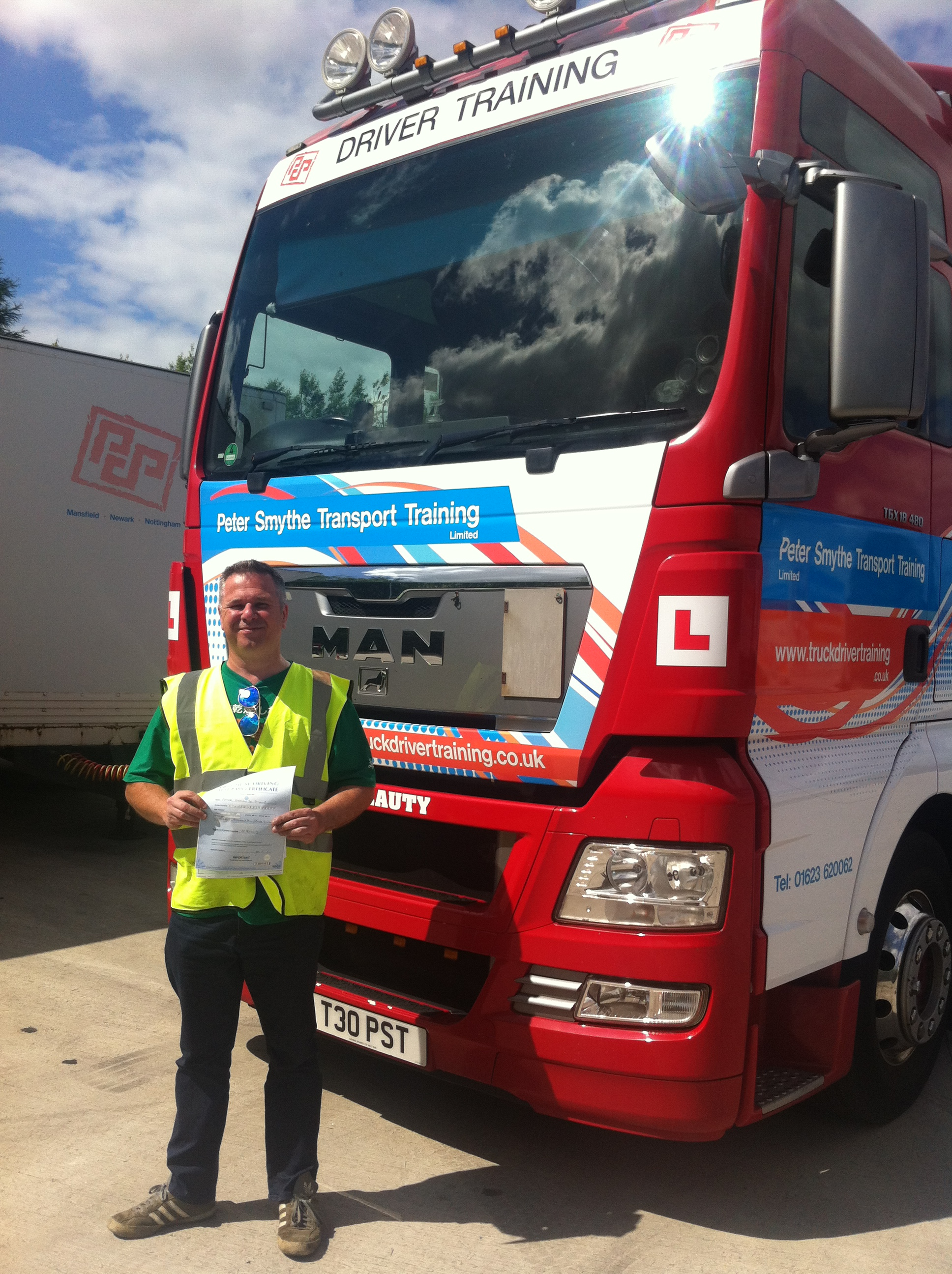 """Peter Stone from Derby PASSED CAT C+E """"Nice people, Great instructors at Peter Smythe Transport Training"""""""
